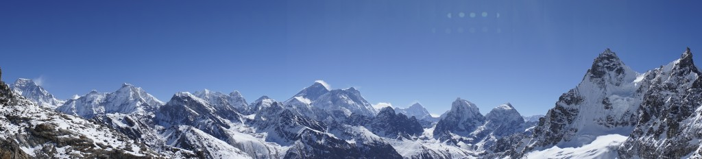 Mount Everest seen from the Renjo La.