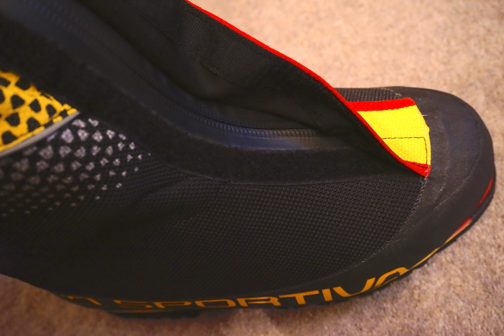 La Sportiva Olympus Mons Evo showing zipper and velcro